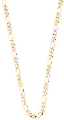 Men's Made In Italy 14k Gold Plated Silver Figaro Chain Necklace
