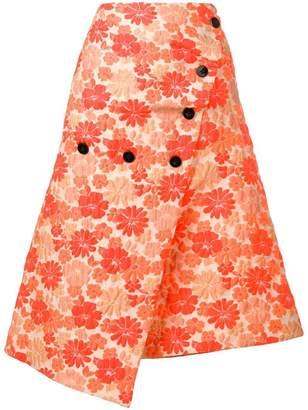 Jil Sander asymmetric floral skirt