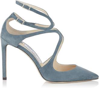 Jimmy Choo LANCER 100 Dusk Blue Suede Pointy Toe Pumps