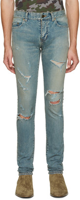 Saint Laurent Blue Original Low Waisted Destroyed Skinny Jeans $890 thestylecure.com
