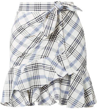 Veronica Beard Kaia Embroidered Checked Cotton-blend Mini Skirt - Blue
