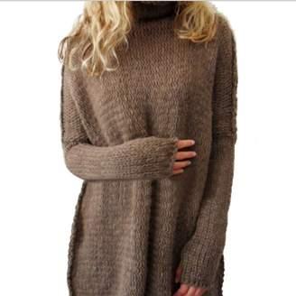 BIUBIONG Women's High Neck Casual Oversize Long Batwing Sleeve Baggy Sweater
