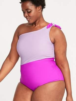 938128c29f8 Old Navy Color-Blocked Secret-Slim One-Shoulder Plus-Size Swimsuit
