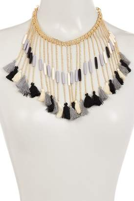 Eye Candy Los Angeles Bead & Tassel Embellished Chain Fringe Necklace