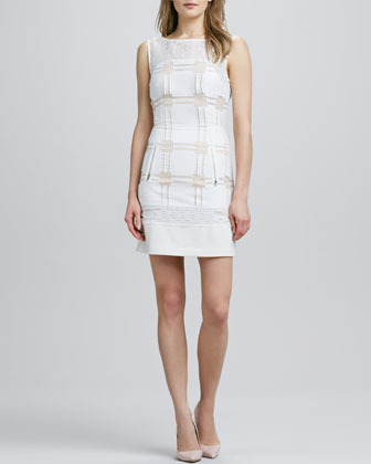 Tracy Reese Sleeveless Mixed Media Shift Dress