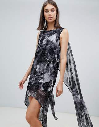 Religion grace printed midi dress with asymmetric hem