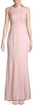 Eliza J Lace Top Halter Gown