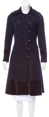 Chloé Velvet-Trimmed Wool Coat