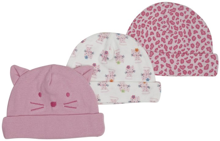 Gerber 3-Pk Novelty Cap Girl - Multicolor-0-6 Months