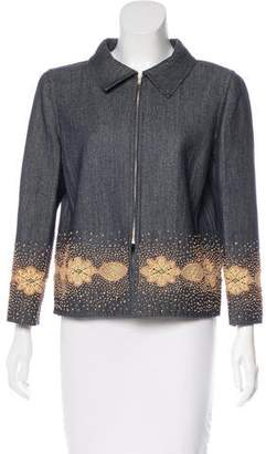 Oscar de la Renta Denim Embellished Jacket