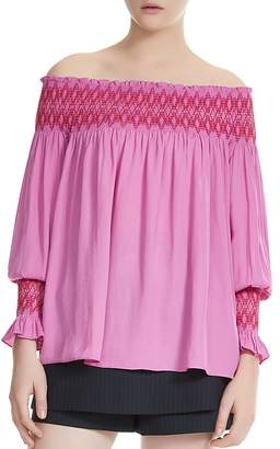 Maje Lofaur Smocked Embroidered Off-the-Shoulder Top