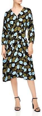 Sandro Fraternite Floral Midi Dress