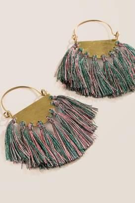francesca's Briana Statement Tassel Earrings - Olive