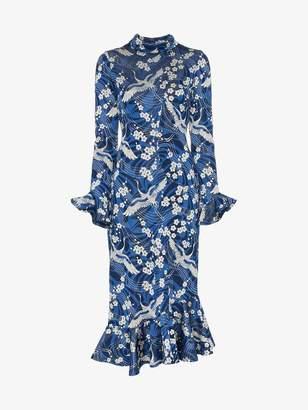 Erdem alta japanese floral print midi dress