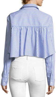 Petersyn Gretchen Striped Asymmetric Poplin Shirt
