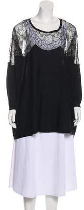 Valentino Wool Lace-Accented Top
