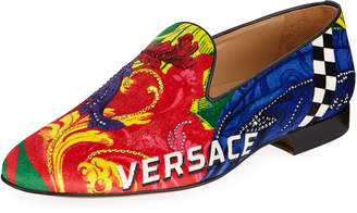 Versace Men's Wildcolor Sequin-Detail Velvet Slipper