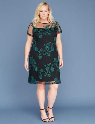 Lane Bryant Embroidered Mesh Shift Dress