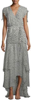 Veronica Beard Samara V-Neck Floral-Print Tiered Chiffon Maxi Dress