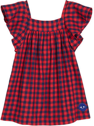 Smiling Button School Yard Check Flutter-Sleeve Top, Size 18m-10
