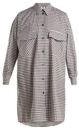 MM6 MAISON MARGIELA Oversized Checked Cotton Poplin Shirtdress - Womens - Purple Multi
