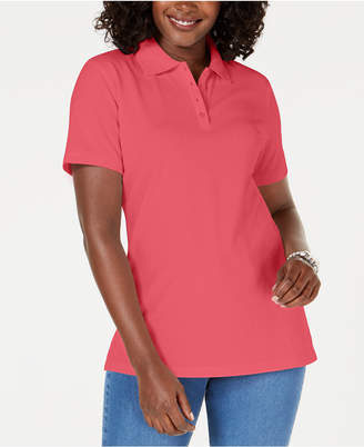 Karen Scott Cotton Pique Polo Top