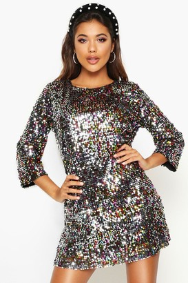 boohoo Woven Sequin Shift Dress