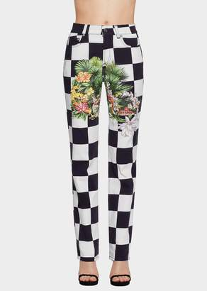 Versace Floral Checkerboard Jeans