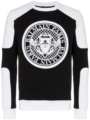 Balmain biker logo print cotton sweatshirt