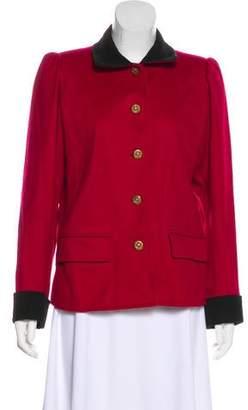 Saint Laurent Corduroy Trim Short Coat