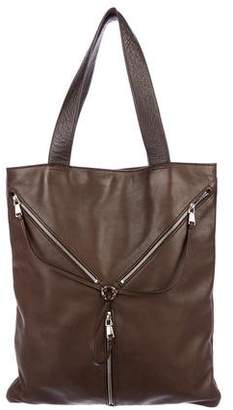 Saint Laurent Zip-Accented Leather Tote