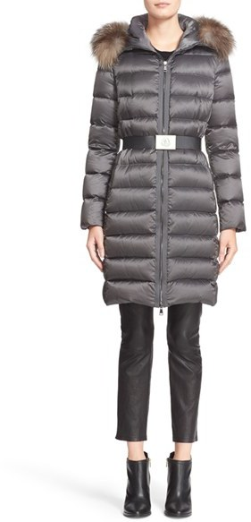 Moncler Women's Moncler Tinuviel Belted Down Puffer Coat With Removable Genuine Fox Fur Trim