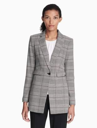 Calvin Klein plaid one button long jacket