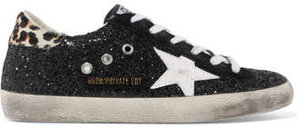Golden Goose Superstar Calf Hair-trimmed Distressed Glittered Leather Sneakers - Black