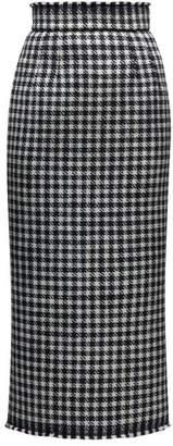 Dolce & Gabbana Raw Hem Wool Blend Houndstooth Pencil Skirt - Womens - Black White