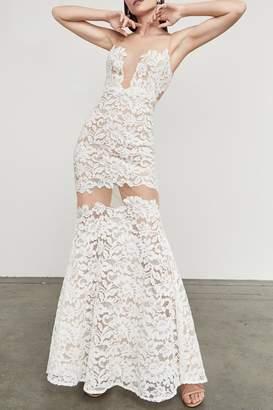 BCBGMAXAZRIA Floral Lace Gown