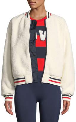 Tory Sport Zip-Front Sherpa Bomber Jacket