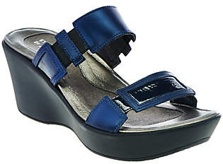 Naot Footwear Leather Double Strap Wedge Sandals -Treasure