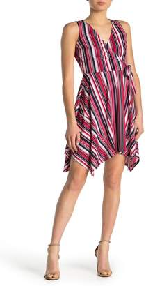 Just For Wraps Stripe Wrap Style Handkerchief Hem Dress