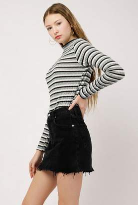 Azalea Rib L/S Stripe Mock Neck Top