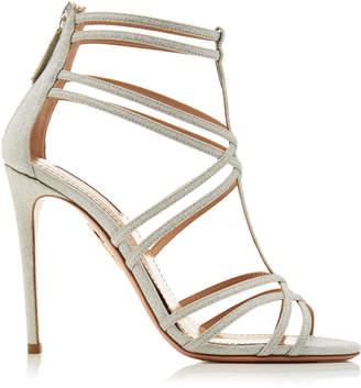 Aquazzura Princess Glittered Leather Sandals