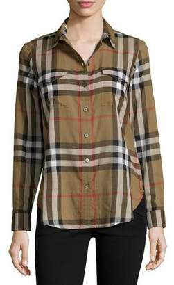 Burberry Long-Sleeve Cotton Check Shirt, Taupe Brown