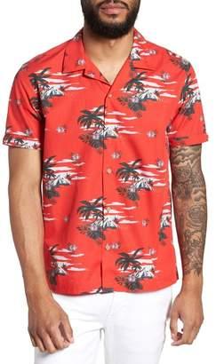 Ted Baker Slim Fit Tropical Pattern Sport Shirt