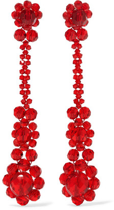 Simone Rocha - Crystal Earrings - Red $305 thestylecure.com
