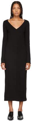 Raquel Allegra Black Jersey V-Neck Dress