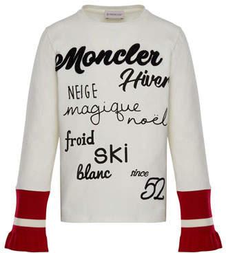 Moncler Long-Sleeve Script T-Shirt w/ Contrast Cuffs, White, Size 4-6