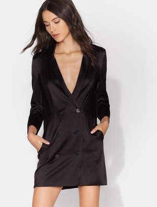 Halston Double Breasted Satin Tuxedo Dress