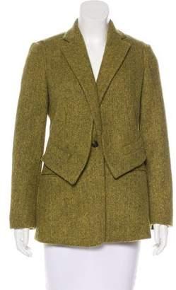 Max Mara Alpaca & Virgin Wool-Blend Herringbone Blazer