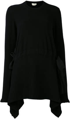 Fendi cashmere asymmetrical lace-up detail pullover