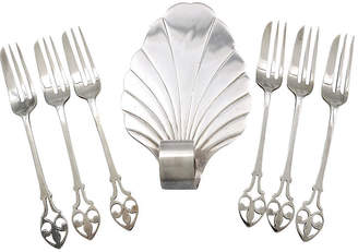 One Kings Lane Vintage English silver-plate Pastry/Cake Set 7Pc - Rose Victoria